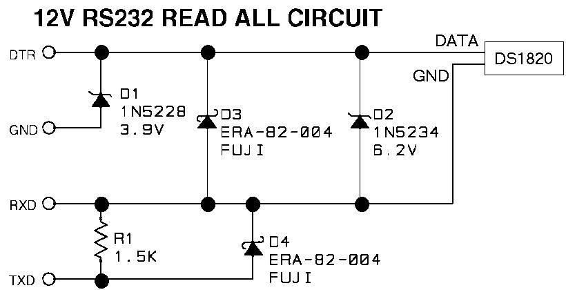 Адаптер 1-wire/RS232.  Схемка рабочая.