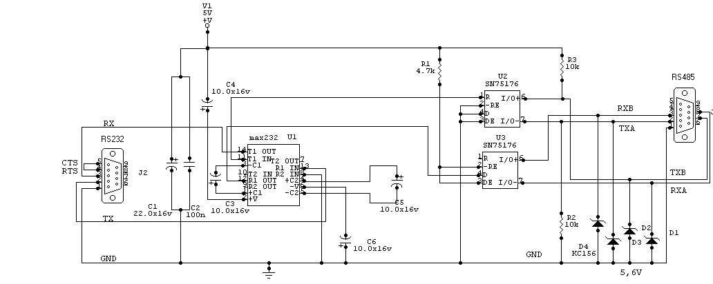 линии RS232 в RS485. Схема